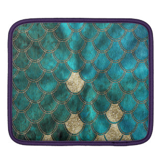 Aqua green Mermaidscales with gold glitter iPad Sleeve