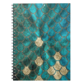 Aqua green Mermaidscales with gold glitter Notebook