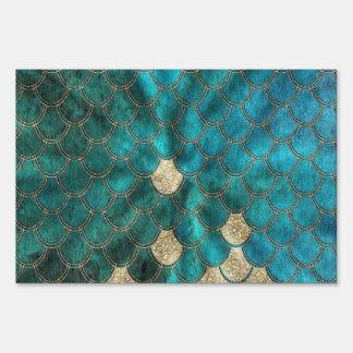 Aqua green Mermaidscales with gold glitter Sign