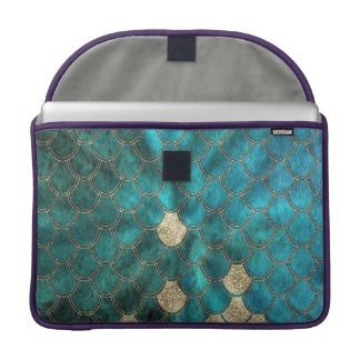 Aqua green Mermaidscales with gold glitter Sleeve For MacBook Pro