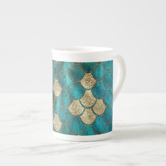 Aqua green Mermaidscales with gold glitter Tea Cup