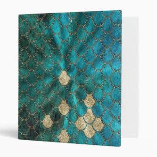 Aqua green Mermaidscales with gold glitter Vinyl Binders