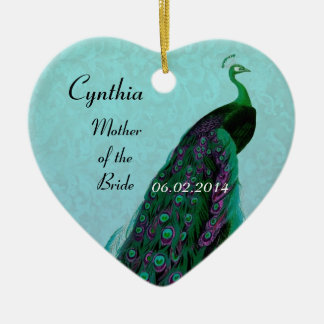 Aqua Green Mother of the Bride Wedding Thank You Ceramic Heart Ornament