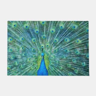Aqua Green Peacock Feathers Doormat