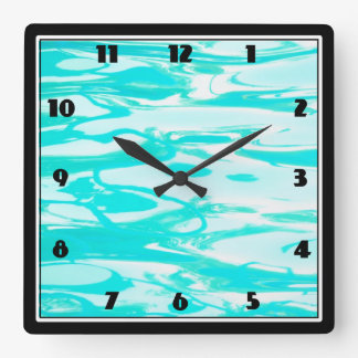Aqua Green Pool Water Abstract Background Square Wall Clock