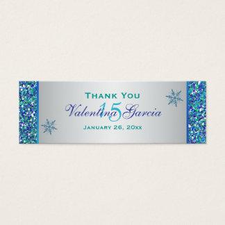 Aqua Green Silver Snowflakes Quinceanera Favor Tag Mini Business Card