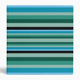 Aqua & Green Stripes Binder
