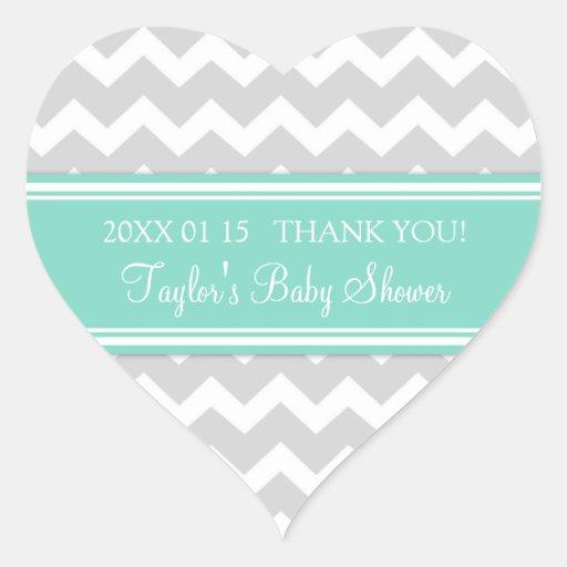 Aqua Grey Chevron Baby Shower Favor Stickers