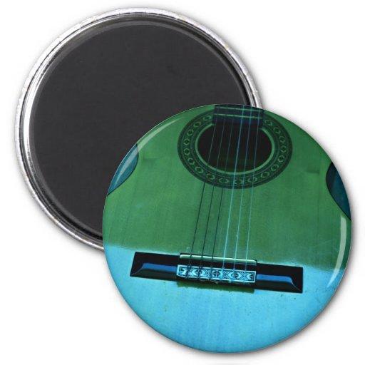 Aqua Guitar Fridge Magnets