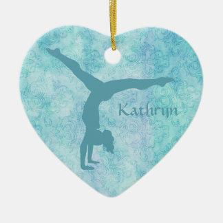 Aqua Gymnast on Teal Pattern Ceramic Ornament