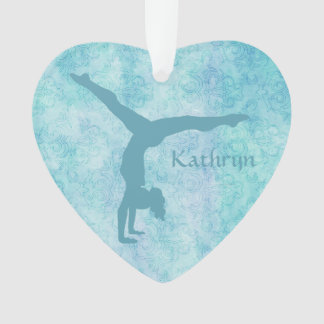 Aqua Gymnast on Teal Pattern Ornament