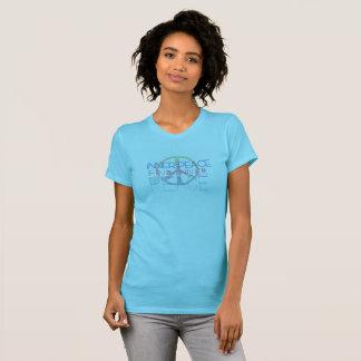 Aqua heart and peace ladies t-shirt