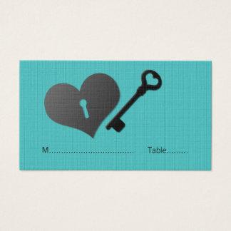 Aqua Heart Lock and Key Place Card