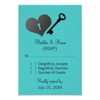 Aqua Heart Lock and Key Response Card Personalized Invite