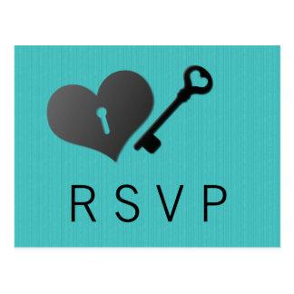 Aqua Heart Lock and Key Response Card Postcard