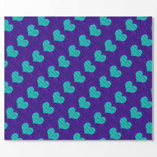 Aqua Hearted Purple Brick Wrapping Paper
