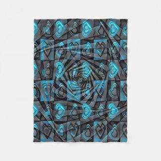 Aqua Hearts Fleece Blanket