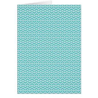 Aqua Herringbone Card