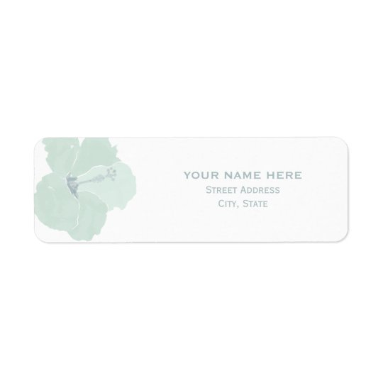 Aqua Hibiscus Tropical Wedding Address Label