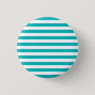 Aqua Horizontal Stripes 1 Inch Round Button
