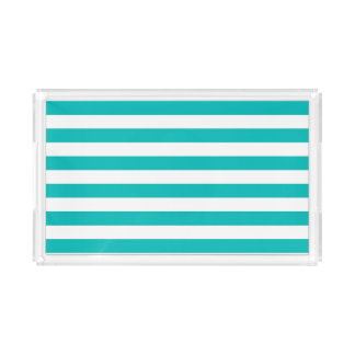 Aqua Horizontal Stripes Acrylic Tray