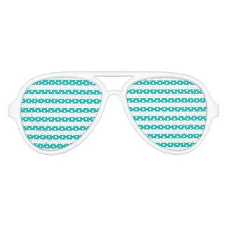 Aqua Horizontal Stripes Aviator Sunglasses