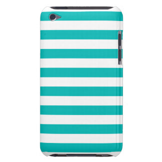 Aqua Horizontal Stripes Barely There iPod Cover
