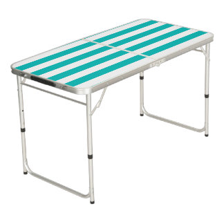 Aqua Horizontal Stripes Beer Pong Table