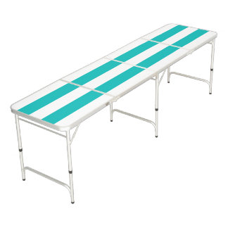 Aqua Horizontal Stripes Beer Pong Table