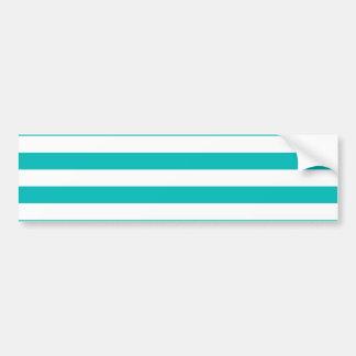 Aqua Horizontal Stripes Bumper Sticker