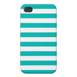 Aqua Horizontal Stripes Cases For iPhone 4