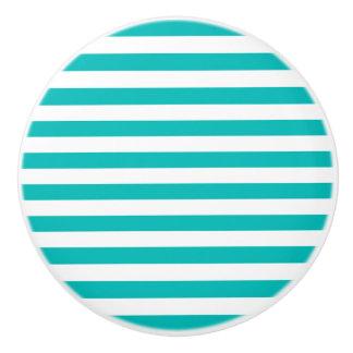 Aqua Horizontal Stripes Ceramic Knob