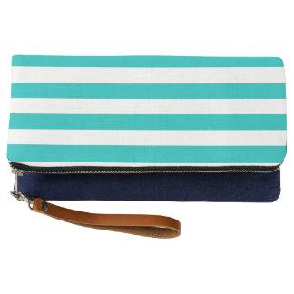 Aqua Horizontal Stripes Clutch