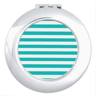 Aqua Horizontal Stripes Compact Mirror