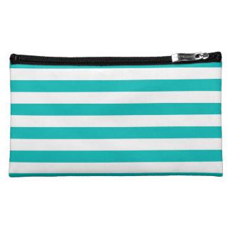 Aqua Horizontal Stripes Cosmetics Bags