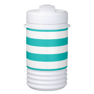 Aqua Horizontal Stripes Drinks Cooler