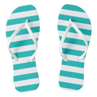 Aqua Horizontal Stripes Flip Flops