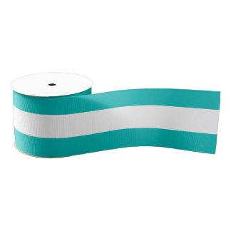 Aqua Horizontal Stripes Grosgrain Ribbon
