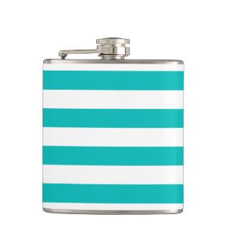 Aqua Horizontal Stripes Hip Flask
