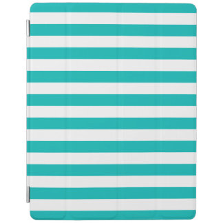 Aqua Horizontal Stripes iPad Cover