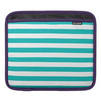 Aqua Horizontal Stripes iPad Sleeve