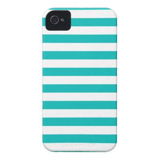 Aqua Horizontal Stripes iPhone 4 Case-Mate Cases