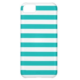 Aqua Horizontal Stripes iPhone 5C Cover