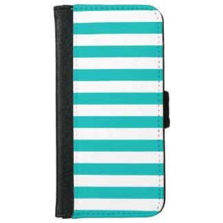 Aqua Horizontal Stripes iPhone 6 Wallet Case