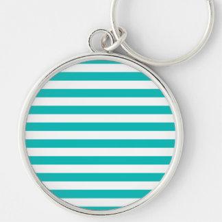 Aqua Horizontal Stripes Keychain