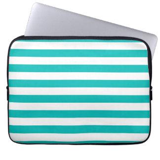Aqua Horizontal Stripes Laptop Computer Sleeve