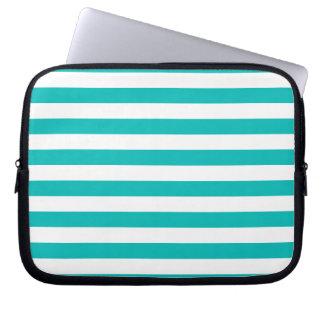 Aqua Horizontal Stripes Laptop Sleeve