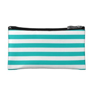 Aqua Horizontal Stripes Makeup Bags