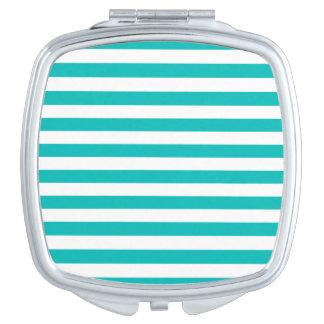 Aqua Horizontal Stripes Makeup Mirror