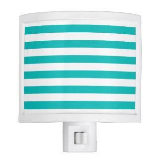 Aqua Horizontal Stripes Nite Lite